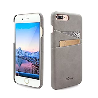 Airart iPhone 7 Plus Card Case, Premium Vintage Soft Leather Wallet Case, Ultra Slim Professional Executive Snap On Back Cover with 2 ID Credit Card Slots Holder for iPhone 7 Plus 5.5 Inch, Grey