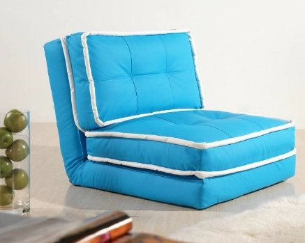 ARTDECO Schlafsessel Jugendsessel Gästebett Kindersessel Klappsessel Kunstleder hellblau mit weißem Saum groß
