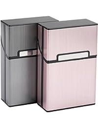 LUWANZ 2x Caja de cigarrillo, Cigarette Case de la aleación de aluminio, funda de aluminio con la cerradura magnética para 20 cigarrillos (No incluye cigarrillos)