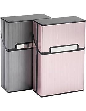 LUWANZ 2x Caja de cigarrillo, Cigarette Case de la aleación de aluminio, funda de aluminio con la cerradura magnética...
