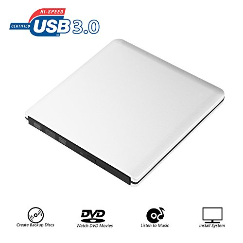 Extern DVD Laufwerk Ultraslim Tragbare CD Brenner, 9.5mm Chip, CD/DVD-RW ROM USB 3.0 Drive Externes DVD-Laufwerk Superdrive für Laptops Desktops PC unter Windows und Mac OS für Apple Macbook