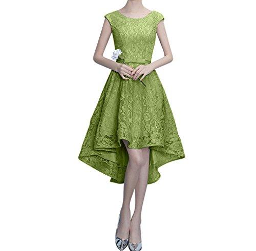 Charmant Damen Traumhaft Rosa Spitze A-linie Abendkleider Partykleider perlen Ausschnitt Figurbetont Lang Olive Gruen