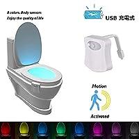 Popluxy Toilet Night Light Motion Sensor, Inside Toilet Bowl Seat Light LED for Bathroom Washroom, PIR Motion Activated, 8 Color Changing