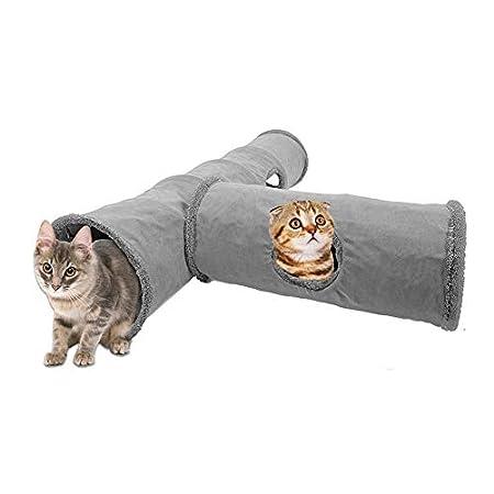 Katzentunnel, Grau Katzenspielzeug Spieltunnel Pet Play Tunnel Hole Faltbares Katzenzeltspielzeug mit Fleecefutter