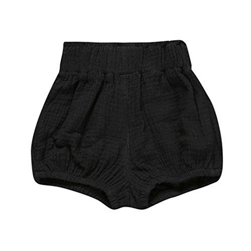 Venta caliente !Ropa para niños, FeiXiang♈Bebé niño lindo bebé niña pantalones cortos pantalones polainas color sólido patrón pijamas de verano (18m, A~Negro)