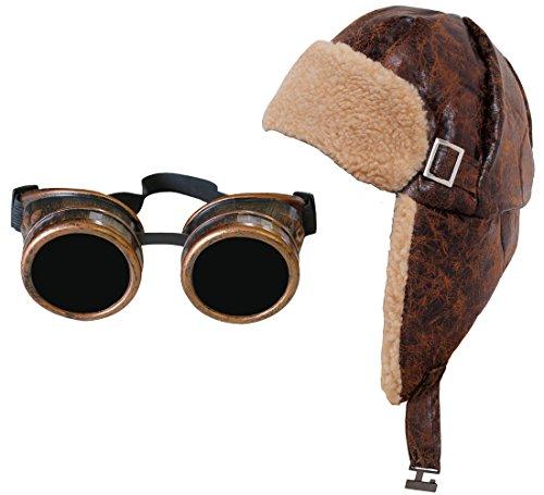 Und Aviator Hut Kostüm Brille - ILOVEFANCYDRESS FLIEGERMÜTZE/RUSSEN=Retro Stil KOSTÜM ERKLEIDUNG Variation=Verschiedene SCHALS+Verschiedene Brillen=Kunstleder KAMPFFLIEGER MIT OHRKLAPPEN=MÜTZE+Schwarze Brille