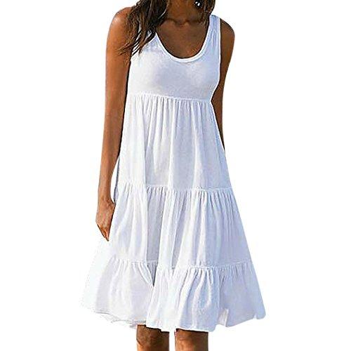 Sommer Party Kostüm Beach - VJGOAL Damen Kleid, Damen Basic Weiß O-Ausschnitt Solid Holiday Party Beach Sommer ärmelloses gemütliches Baumwollkleid (S / 36, Weiß)