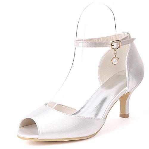 L@yc scarpe da sposa per donna ciondolo perla tacchi bassi tacco scarpe da damigella piattaforma/peep toe, white, 41