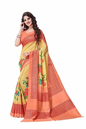 Miraan Women's Bhagalpuri Silk Saree With Blouse Piece (Vi9051_Multi-Coloured)