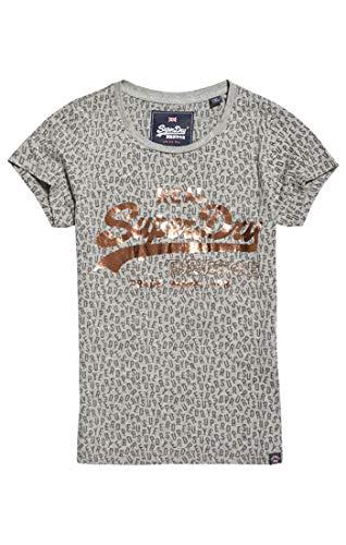 Superdry Damen Pullunder Vintage Logo AOP Burn Out Entr, Grau (Grey Marl 07q), Small (Herstellergröße: 10.0)