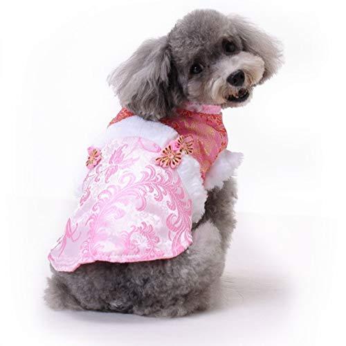 Haustier-Katze-Hundekleidung, im chinesischen Stil neues Jahr-Trauerkleidung, warme und bequeme Haustierkleidung (Color : Pink, Size : S)