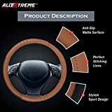 #8: AllExtreme EXTBFS1 PU Leather Universal Anti-slip Car Auto Steering Wheel Cover with Finger Design (36cm, Tan)