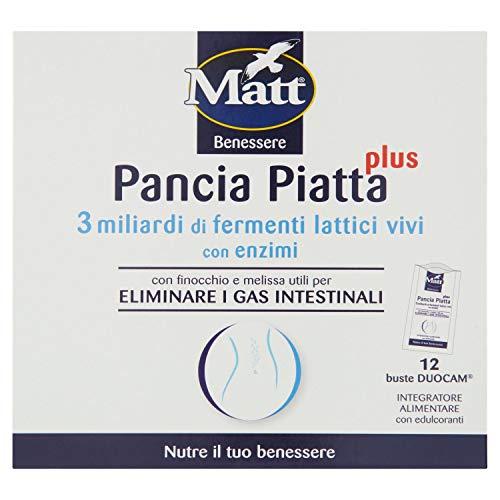 Matt Pancia Piatta Plus - Bustine per l'Equilibrio della Flora Intestinale e l'Eliminazione dei Gas Intestinali - Integratore Alimentare con Edulcoloranti- 12 Bustine - 51,6 g