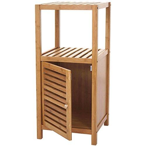 Preisvergleich Produktbild Mendler Badregal HWC-B18,  Badezimmer Badschrank Standregal mit Tür,  Bambus ~ 80x36x34cm