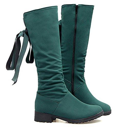 Aisun Femme Classique Noeud Tige Hautes Bout Rond Bottes Vert