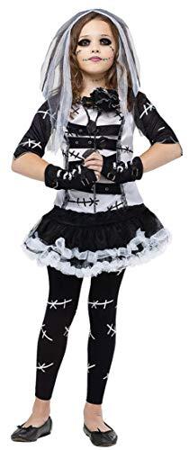 Kostüm Chucky's Mädchen Braut - Fancy Me 5 Stück Mädchen & Teenage Dead Bride of Chucky Frankenstein + Strumpfhose Halloween büchertag Kostüm Kleid Outfit 4-14 Jahre - Schwarz, 4-6 Years