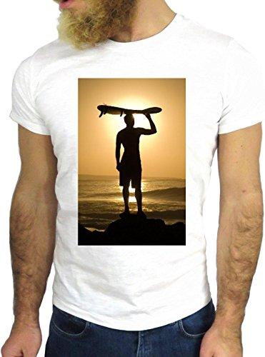 T-SHIRT JODE GGG24 Z1038 OCEAN MAN BOY GUY SURF LANDSCAPE UK AMERICA SUN BIANCA - WHITE