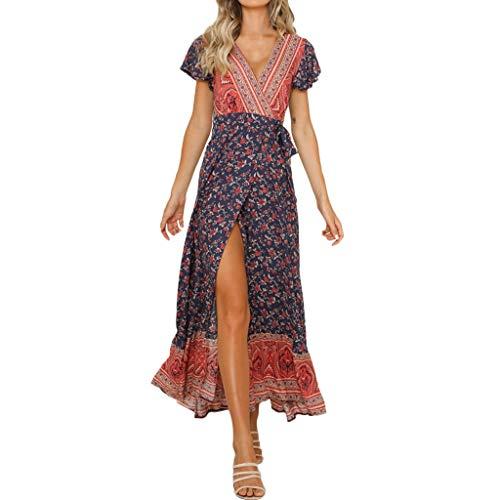 SMILEQ Frauen-reizvolle beiläufige hohe Taillenböhmen-Druck-V-Ausschnitt-Nationale Art-langes Kleid (Marine, M) (Auf Toms Mädchen Verkauf Für)