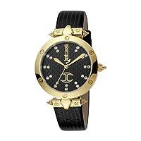 Just Cavalli JC Logo Ladies Black Dial Leather Analog Watch - JC1L122L0035