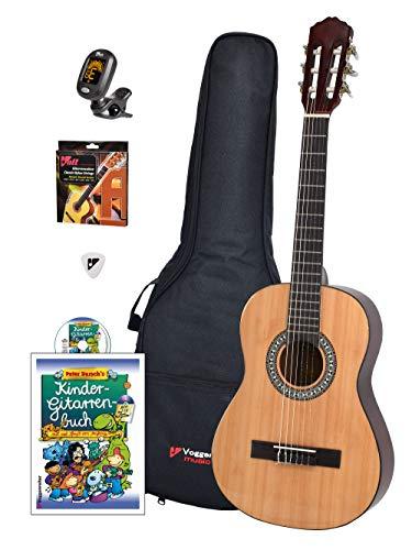 Voggy\'s Kindergitarren-Set 1/2 - Gitarre für Kinder ab 6 Jahren im Komplettset mit Zubehör auch geeignet für Anfänger, natur