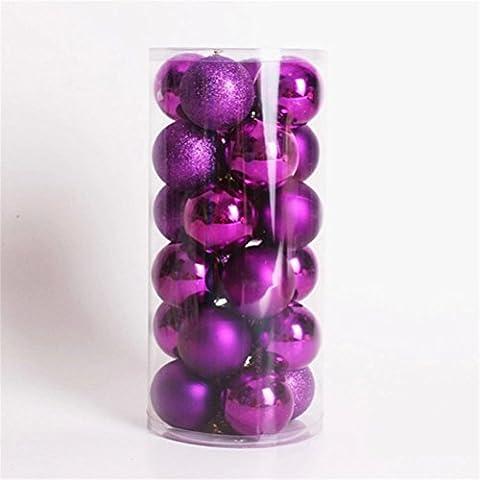 Pixnor 24pcs opaco palline di Natale Decorazioni (Viola Ornamento Di Vetro)