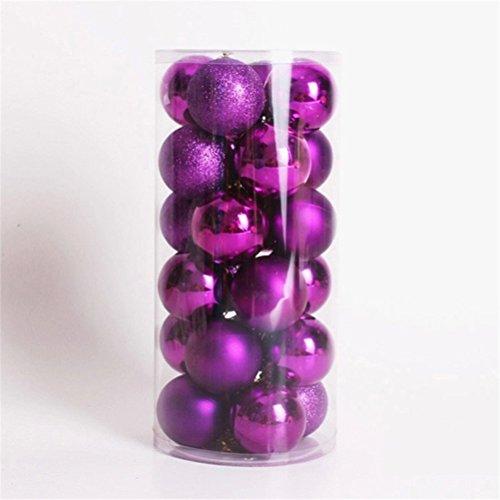LUOEM Lot de boules de Noël incassables Boules de décoration de Noël à accrocher dans le sapin, violet