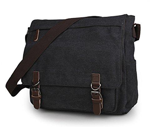 E-Bestar canvas bag uomo borsa a Spalla per la Scuola Tela Bag Tracolla Messenger (Grigio Scuro) Grigio Scuro