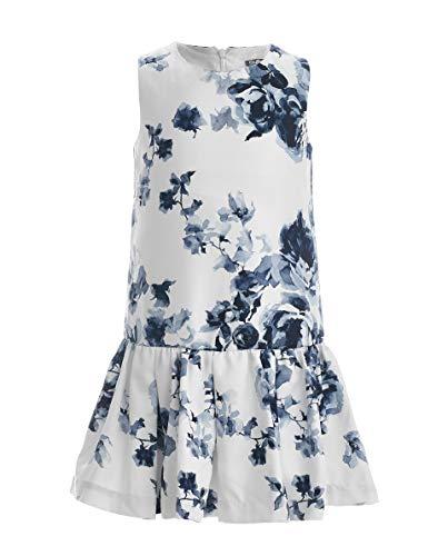 eid | Farbe Blau Weiß | Ärmellos |mit Blumen Muster | Locker | Baumwolle | für 8-13 Jahre ()