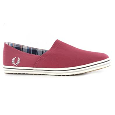 Fred Perry Kingston Stamp Down Chambray Maroon Mens Trainers Size 43 EU