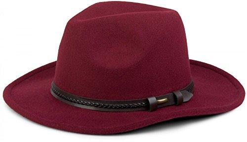 styleBREAKER Fedora Filzhut mit Zierband aus Kunstleder, Cowboy Hut, Unisex 04025007, Farbe:Bordeaux-Rot (Für Frauen Cowboy-hüte Filz)