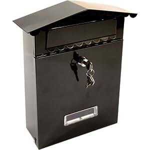 Petite boîte aux lettres murale verrouillable noire avec kit de fixation