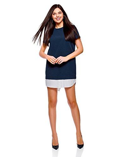 oodji Ultra Mujer Vestido Recto Combinado, Azul, ES 40 / M