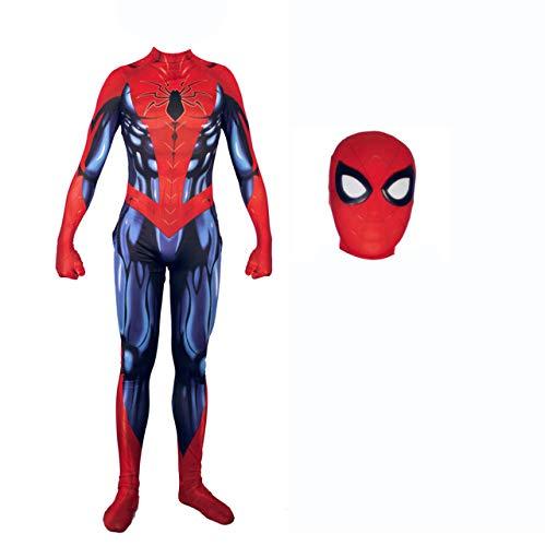 Rot Kostüm Invisible Mann - K-Flame Eisenspinne Heimkehr Kostüm Erwachsene Kostüm Spiderman 3D Overall Cosplay Superheld Body für Männer Halloween Rollenspiele,Rot,L