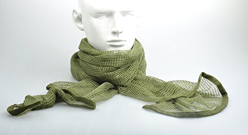 Camouflage collection Tactical Cotton Mesh Scarf Wrap Face Cover Mask Shemagh Sniper Veil (Olive Drab) -