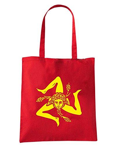 T-Shirtshock - Borsa Shopping T1059 trinacria politica Rosso