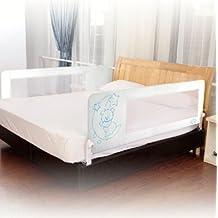 Barrera de cama para bebé, 180 x 65 cm. Modelo osito y luna azul. Barrera de seguridad.