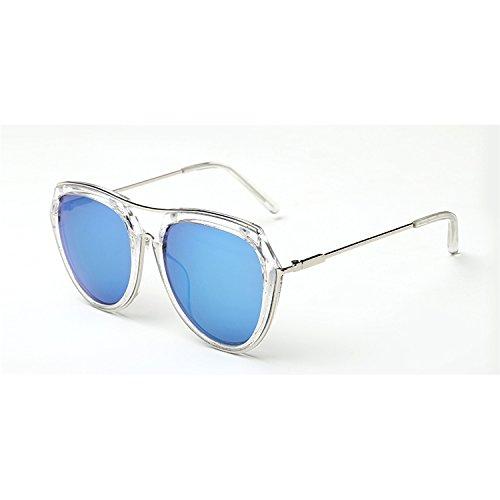 Sunyan Koreanische Version Sonnenbrille Frau Tide Pink mesh Rot gleichen Stil rundes Gesicht Big Frame Sonnenbrillen Treiber, transparentem Rahmen blau Quecksilber