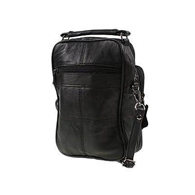 Lorenz Black Real Leather Shoulder Bag - mens-carry-all-organiser-bags