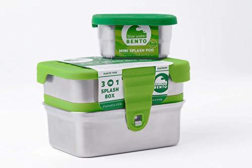 ECOlunchbox | Blue Water Bento | 3-in-1 Splash Box, Edelstahldose mit Silikondeckel | Lunchbox | Brotdose | Bento Box