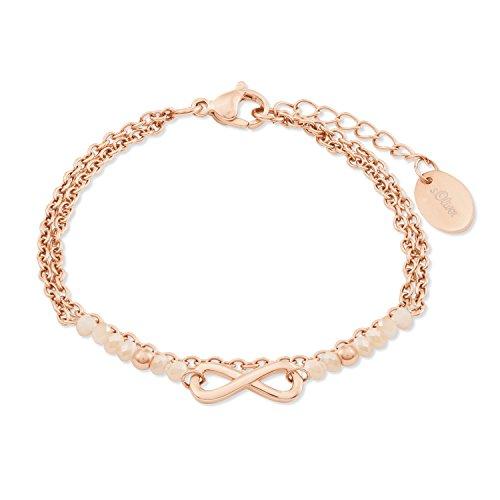 s.Oliver Damen-Armband mit Infinity-Anhänger aus Edelstahl IP Rose Beschichtung mit Glassteinen