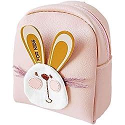 Scrox 1x Monedero Mini Conejo Kawaii Cremallera Bolsa de Auriculares PU Cartera Mujer Lindo Pequeño Billetera Creativo Bolsa de Monedas (Rosa)