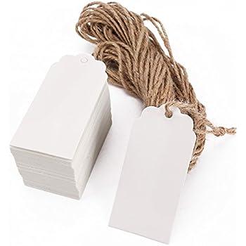 Vektenxi 100 ST/ÜCKE Leere Preisschild mit Seil Schmuck Anzahl Label Kleidung Display Tag DIY Hangtag f/ür Shop Verwendung Wei/ß