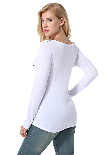 Exlura Femme Sexy Manches Longues Tops Slim T-Shirt Col V Profond Button Moulant Haute Blouse Blanc-002