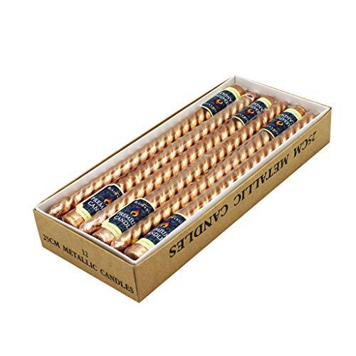 Huiouer 12 Stück Kerzenhalter Taper Spirale gedrehtes rauchfreies Wachs für Esstisch Lange braun