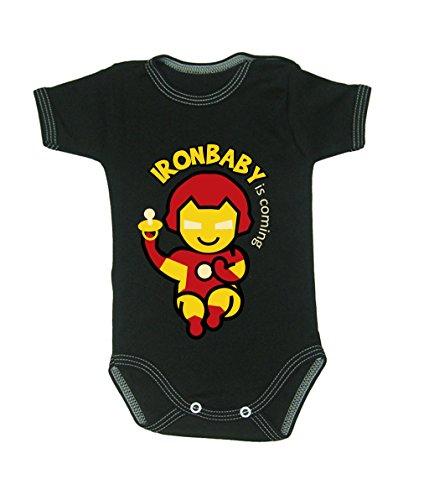 ronman Bodys 0–24Monate schwarz 3-6 months , 68cm (Schwarz Iron Man Anzug)