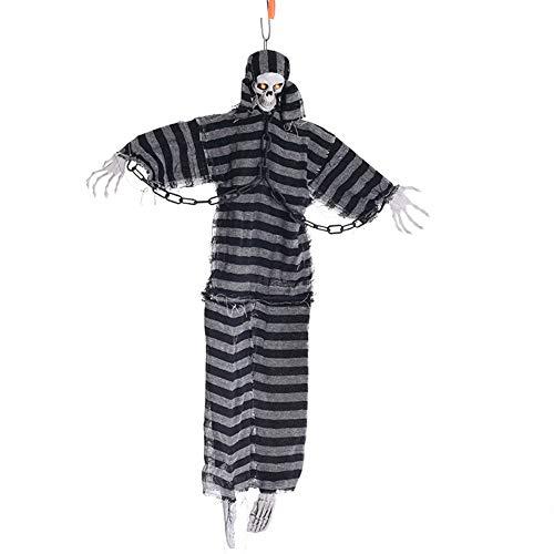 ZKKAW Halloween-Dekorationen, 39-Zoll-hängender Sich hin- und herbewegender Skelett-Geist, Halloween-Dekoration, die Geist mit Licht und gruseligem Klangeffekt rüttelt
