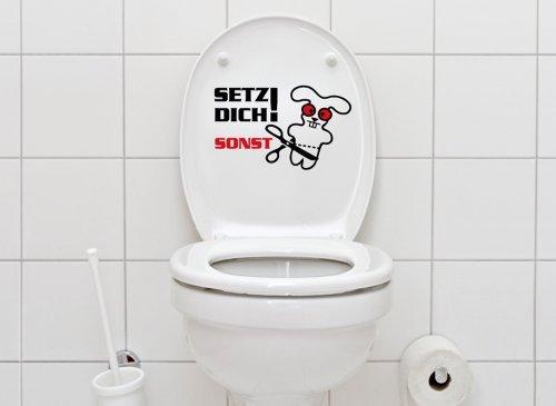 Grandora WC Aufkleber Spruch Setz Dich + Hase I schwarz (BxH) 29 x 19 cm I Badezimmer Toilette Bad Wandtattoo Wandaufkleber Wandsticker Sticker W855