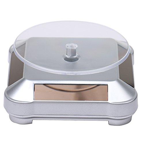 Gazechimp XRF-038 Solar Drehteller Präsentierteller Drehbühne Schmuck Uhren Display Silber