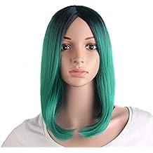 MapofBeauty 14 Pulgada/35cm corto lacio atractiva de cosplay Pelucas (oscuro Fern verde+