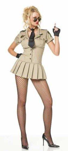 Leg Avenue - 4-Teiler Sheriff-Kostüm: Kleid, Brille, Krawatte, Handschuhe - XL - Kaki - - Sheriff Kostüm Leg Avenue